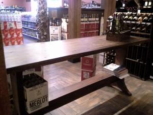Custom built wine tasting table.